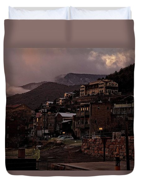 Duvet Cover featuring the photograph Jerome On The Edge Of Sunrise by Ron Chilston