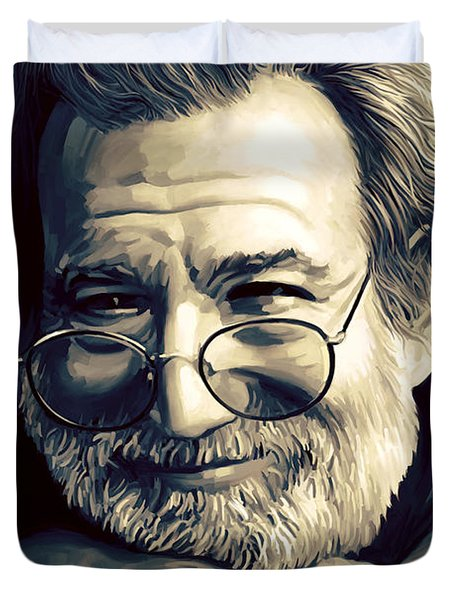 Jerry Garcia Artwork  Duvet Cover by Sheraz A