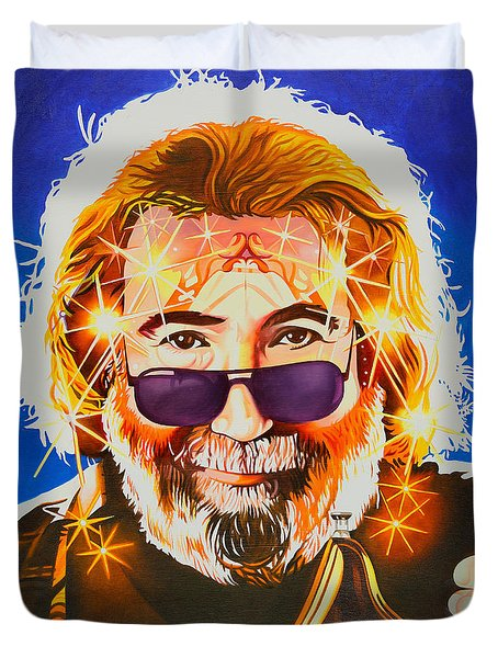 Duvet Cover featuring the painting Jerry Garcia-dark Star by Joshua Morton