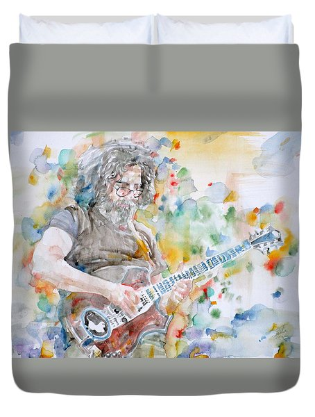 Jerry Garcia - Watercolor Portrait.15 Duvet Cover by Fabrizio Cassetta