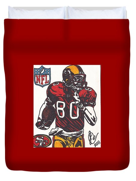 Duvet Cover featuring the drawing Jerry Rice by Jeremiah Colley