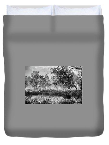Jersey Pine Lands In Black - White Duvet Cover