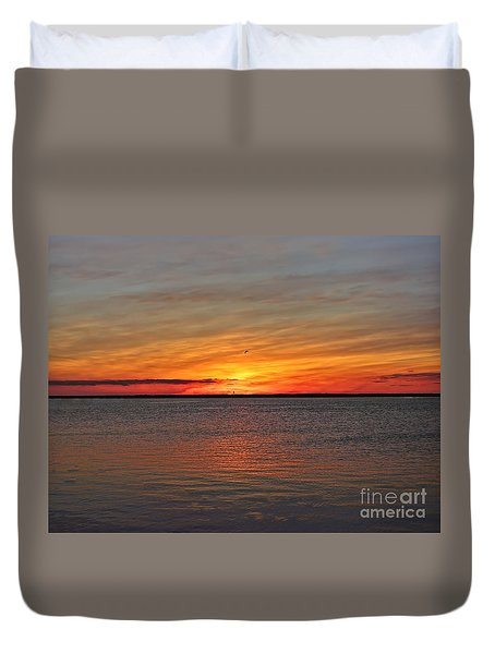 Jersey Shore Sunset Hdr Duvet Cover