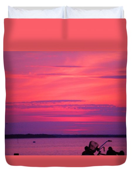 Duvet Cover featuring the photograph Jersey Sunset by Susan Carella