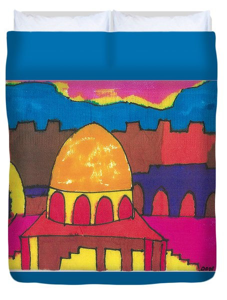 Duvet Cover featuring the painting Jerusalem by Don Koester