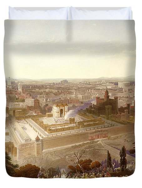 Jerusalem In Her Grandeur Duvet Cover by Henry Courtney Selous