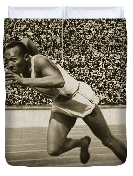 Jesse Owens Duvet Cover by American School