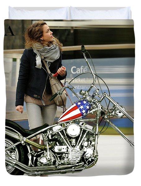 Jessica Alba, Captain America, Easy Rider Duvet Cover