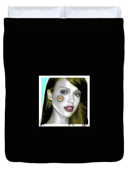 Jessica Alba Pop Art, Portrait, Contemporary Art On Canvas, Famous Celebrities Duvet Cover