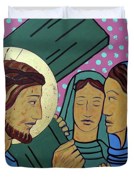 Jesus And The Women Of Jerusalem Duvet Cover