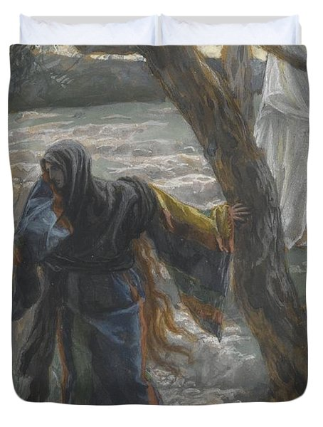 Jesus Appears To Mary Magdalene Duvet Cover by Tissot