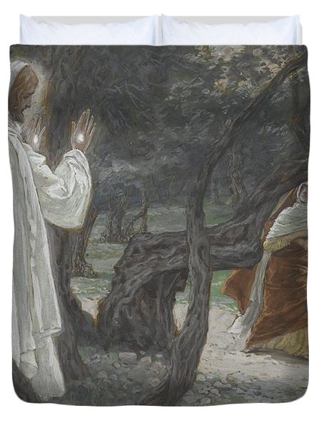 Jesus Appears To The Holy Women Duvet Cover by Tissot