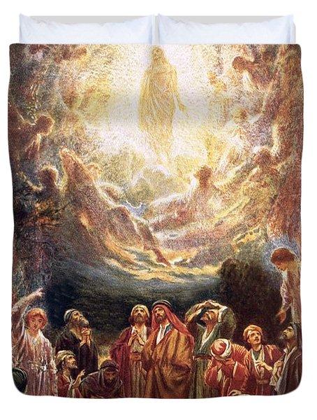 Jesus Ascending Into Heaven Duvet Cover