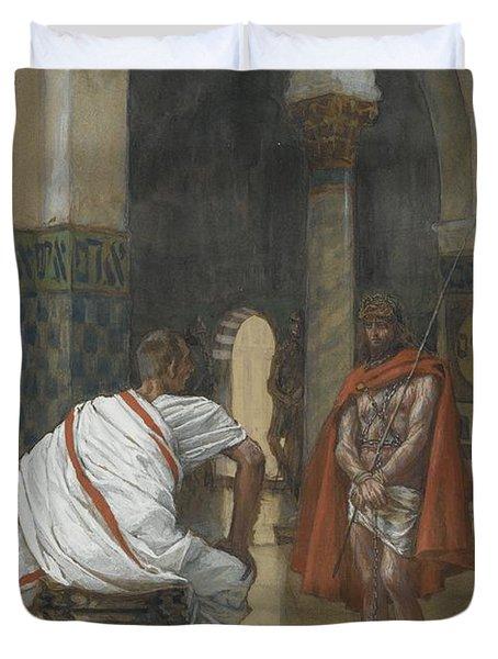 Jesus Before Pilate Duvet Cover by Tissot