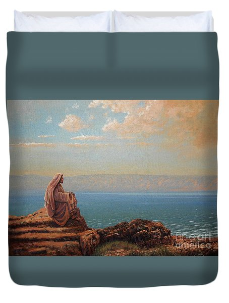 Jesus By The Sea Duvet Cover by Michael Nowak