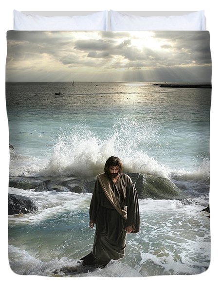 Jesus Christ- I Have Come As A Light Into The World Duvet Cover