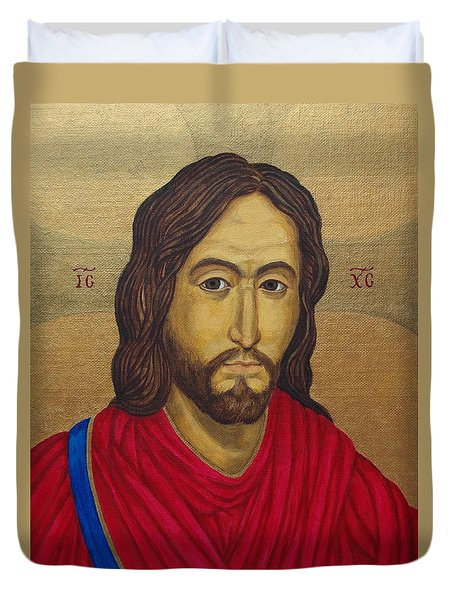 Jesus Christ Pantocrator - After Salus Populi Romani Duvet Cover by Michele Myers