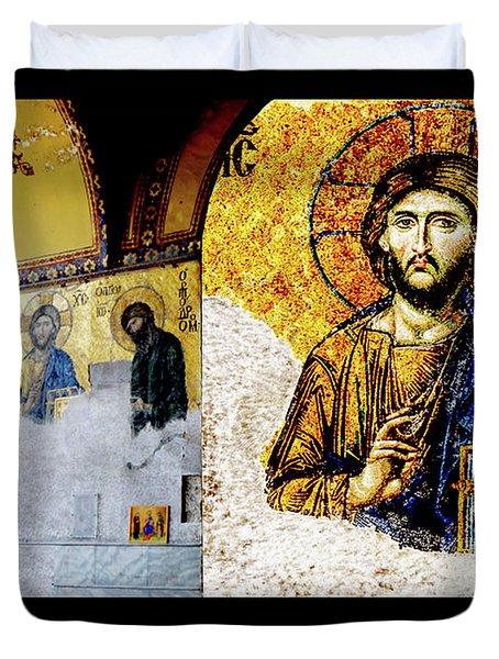 Jesus Christ, Pantocreator Duvet Cover