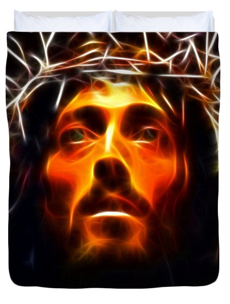 Jesus Christ The Savior Duvet Cover by Pamela Johnson