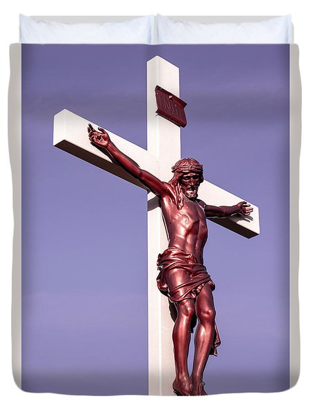 Duvet Cover featuring the photograph Jesus Crucifix Against The Sky 2 by Gary Whitton