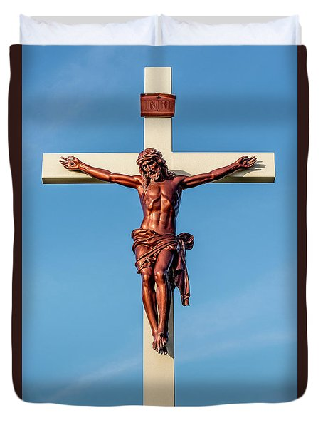Duvet Cover featuring the photograph Jesus Crucifix Against The Sky 3 by Gary Whitton