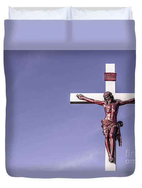 Duvet Cover featuring the photograph Jesus Crucifix Against The Sky by Gary Whitton