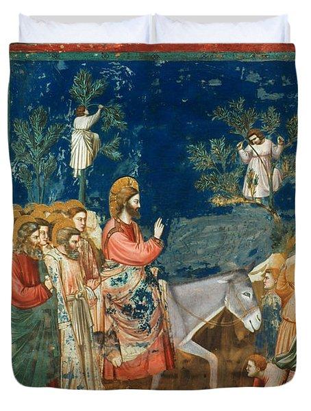 Jesus Entering Jerusalem Duvet Cover