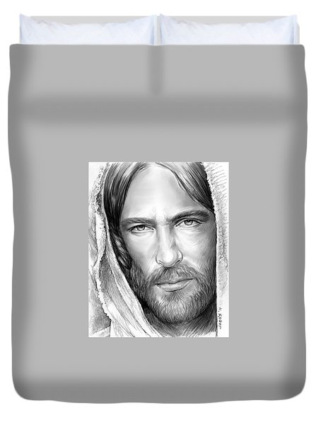 Jesus Face Duvet Cover by Greg Joens