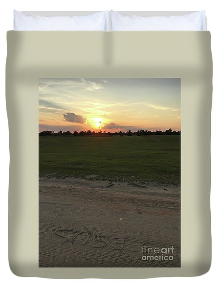 Jesus Healing Sunset Duvet Cover