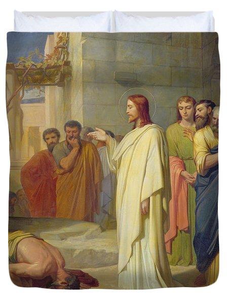 Jesus Healing The Leper Duvet Cover