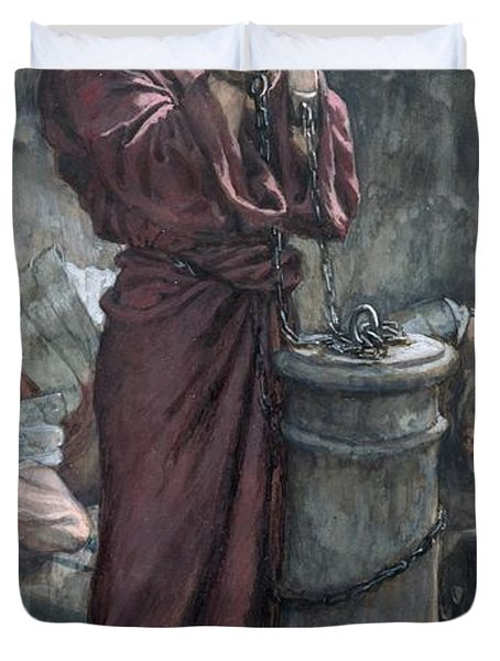 Jesus In Prison Duvet Cover by Tissot