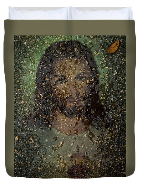Jesus In Stone Duvet Cover