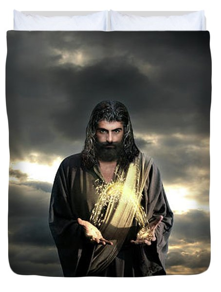 Jesus In The Clouds Duvet Cover
