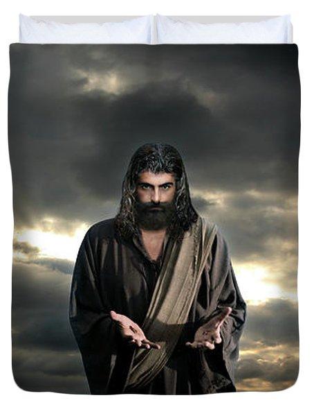 Jesus In The Clouds With Glory Duvet Cover