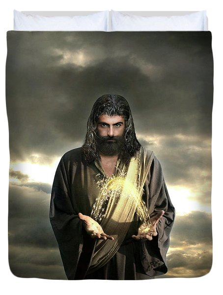 Jesus In The Clouds With Radiant Power Duvet Cover
