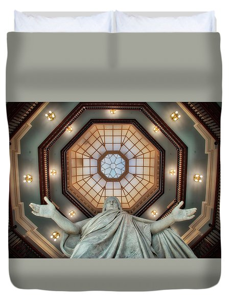 Duvet Cover featuring the photograph Jesus In The Dome by Mark Dodd