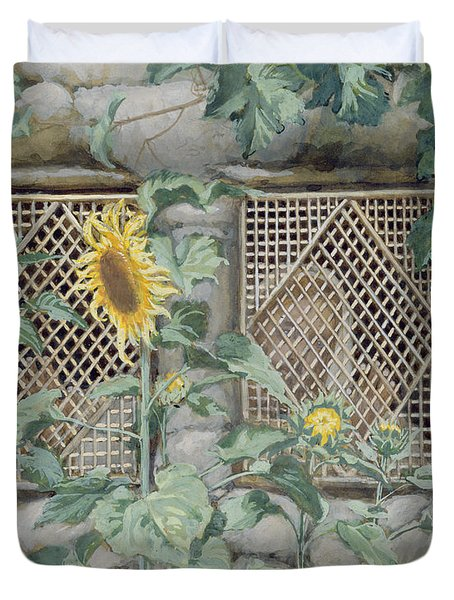 Jesus Looking Through A Lattice With Sunflowers Duvet Cover by Tissot
