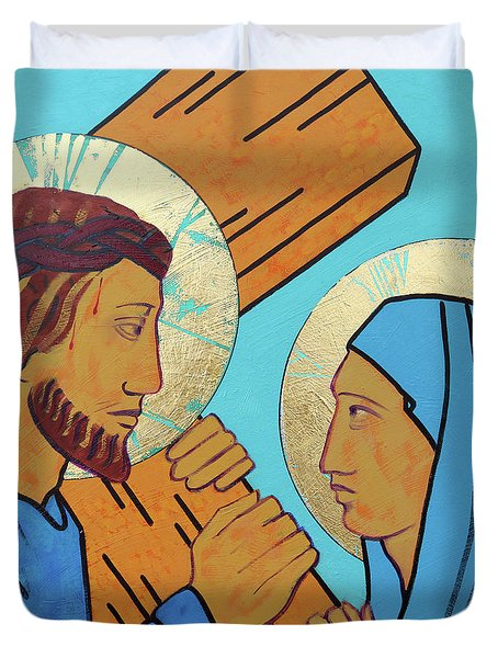 Jesus Meets His Mother Duvet Cover