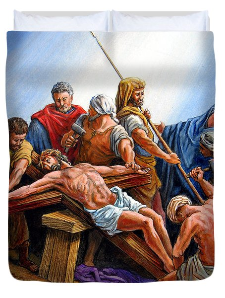 Jesus Nailed To The Cross Duvet Cover by John Lautermilch