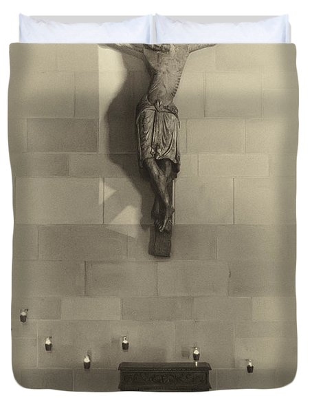 Jesus On The Cross Chapel Icon Duvet Cover by Daniel Hagerman