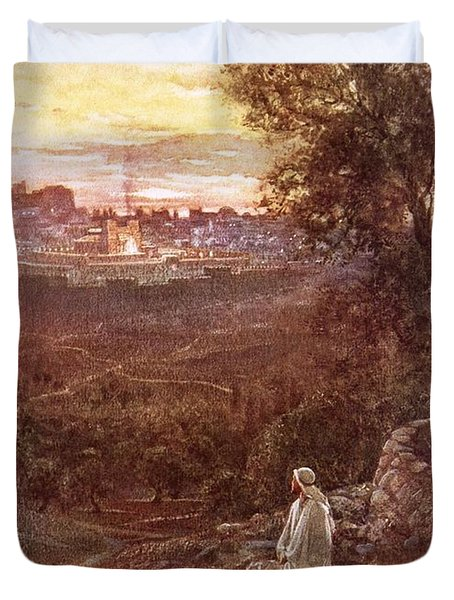 Jesus On The Mount Of Olives Duvet Cover by William Brassey Hole