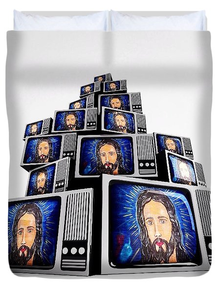 Jesus On Tv Duvet Cover