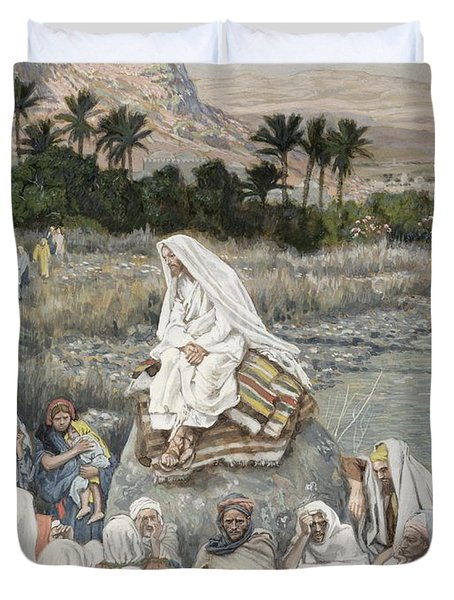 Jesus Preaching By The Seashore Duvet Cover by Tissot