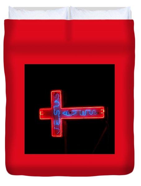 Jesus Saves At Night Duvet Cover