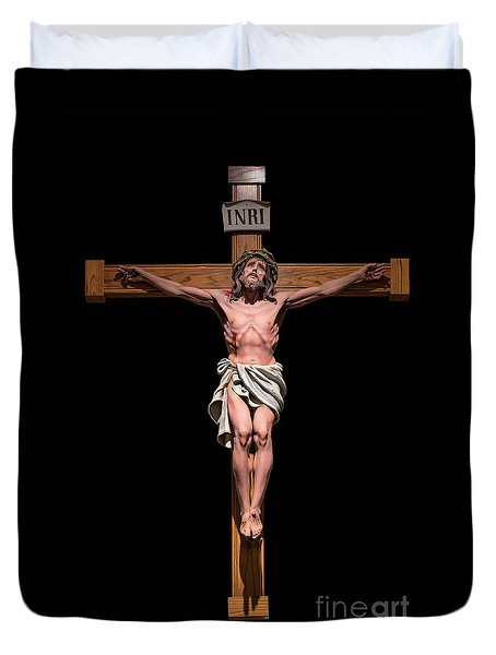 Duvet Cover featuring the photograph Jesus, Savior Of The World by Bonnie Barry
