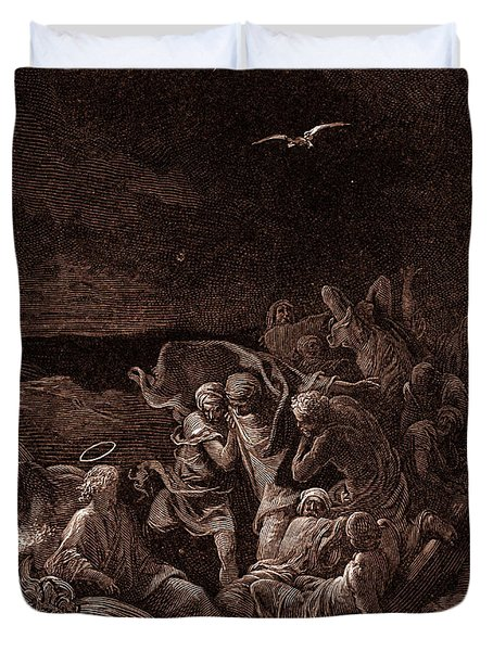Jesus Stilling The Tempest Duvet Cover by Gustave Dore