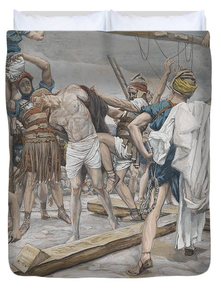 Jesus Stripped Of His Clothing Duvet Cover by Tissot