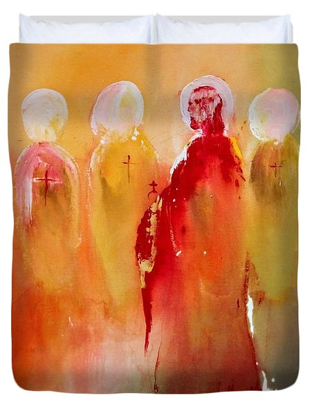 Jesus With His Apostles Duvet Cover