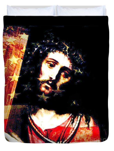 Jesus's Pain For America Duvet Cover by Annie Zeno