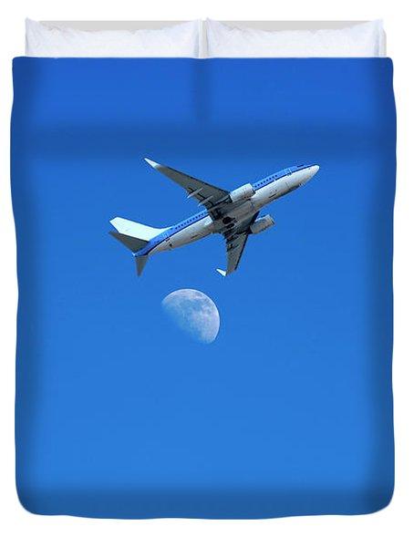Jet Plane Flying Over The Moon Duvet Cover